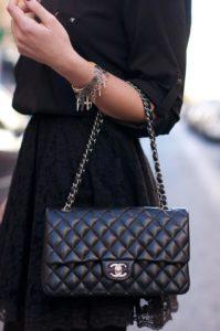 Стеганая черная сумка на цепочке от Chanel