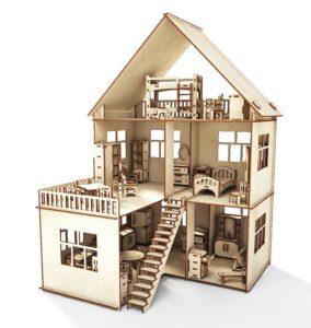 Коттедж для кукол с мебелью и пристройкой Happykon