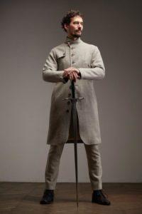 Серый пиджак, лён с хлопком Infundibulum
