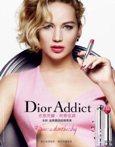 Дженнифер Лоуренс в рекламе помады Dior Addict