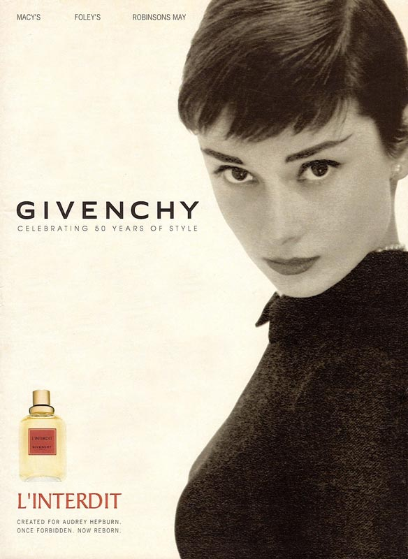 Одри Хепберн в рекламе духов Givenchy L'Interdit