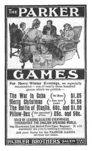 Реклама в газете Parker Brothers